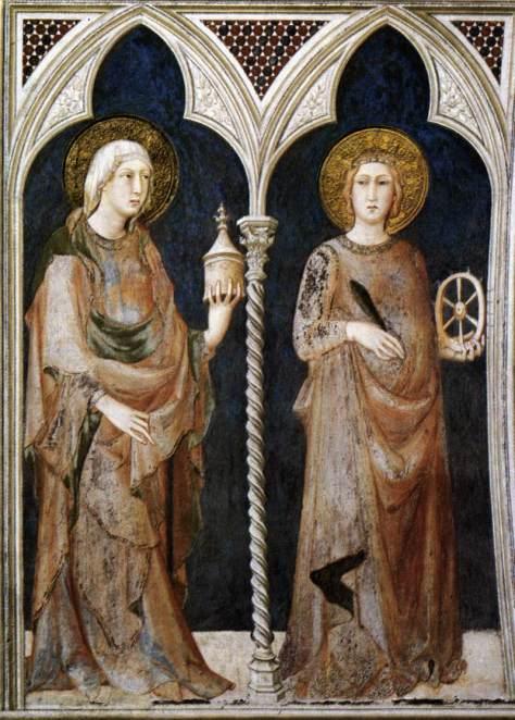 St Mary Magdalen and St Catherine of Alexandria, Simone Martini,1320-25 Fresco, 215 x 185 cm Cappella di San Martino, Lower Church, San Francesco, Assisi.