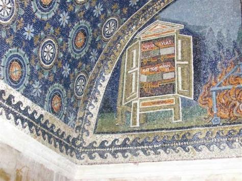 Armarium (bookcase), mosaic, Mausoleum of Galla Placidia, Ravenna, 5th century