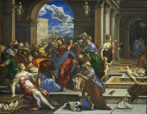 Christ cleansing the Temple, El Greco, probably before 1570, oil on poplar wood,Height: 65.4 cm (25.7 in). Width: 83.2 cm (32.8 in)., National Gallery of Art, Washington DC